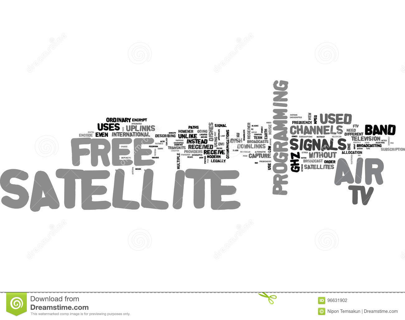 What Is Free To Air Satellite Tv Word Cloud Stock Illustration