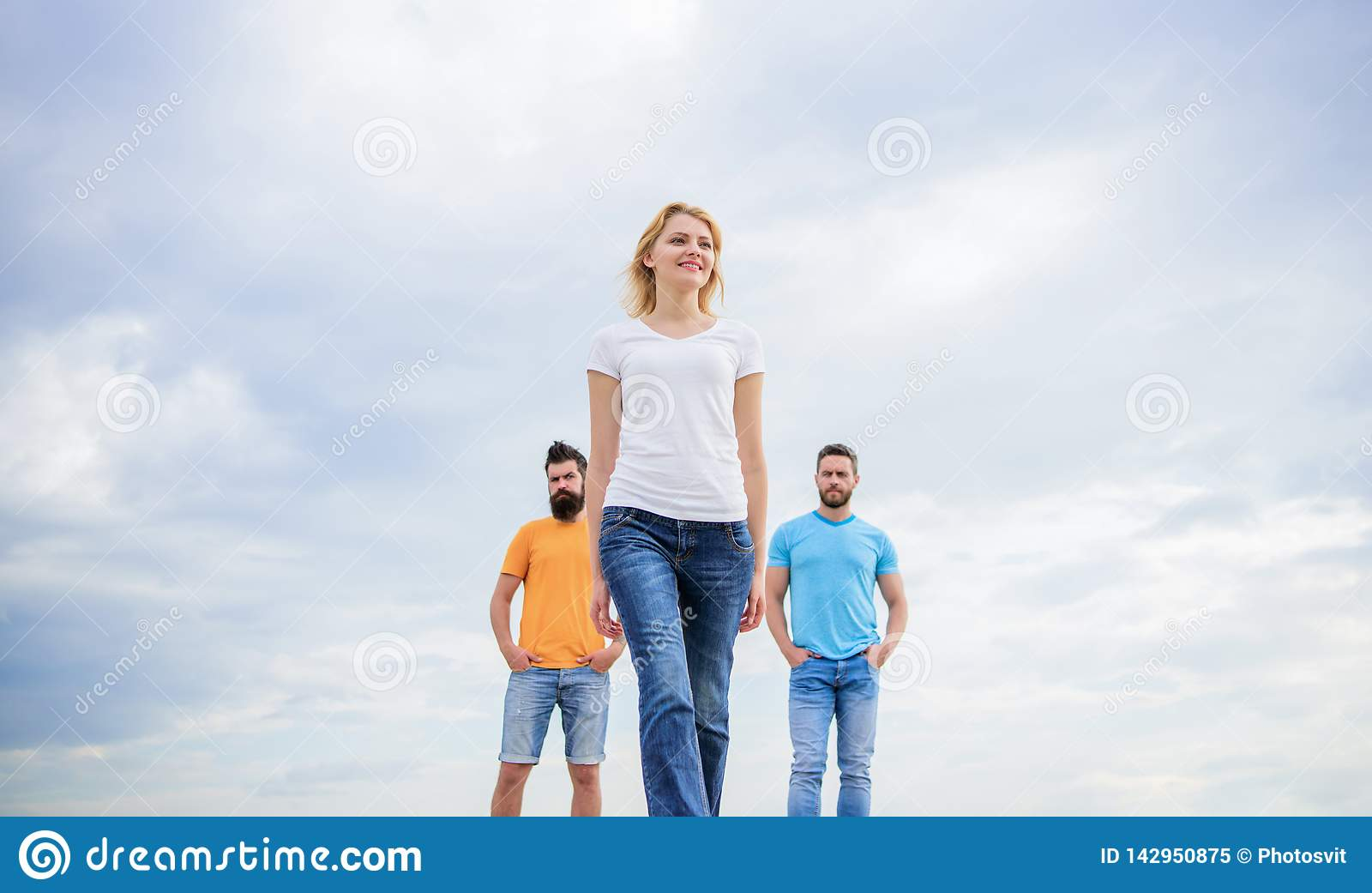 What makes successful female leader. Girl leader qualities possess naturally. Leadership concept. Woman in front of men