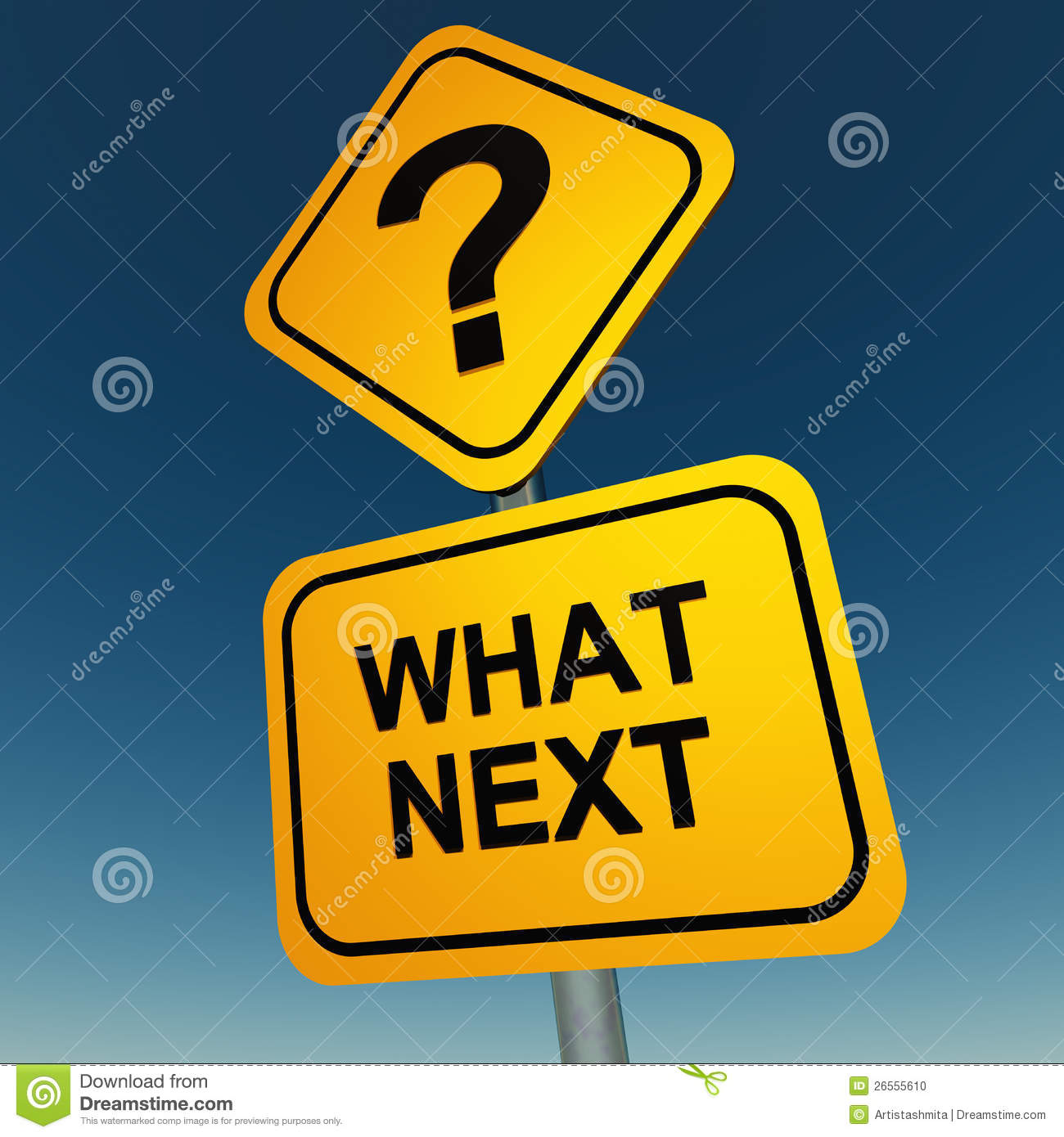 What next question mark on road sign against a cloudless sky, planning ...