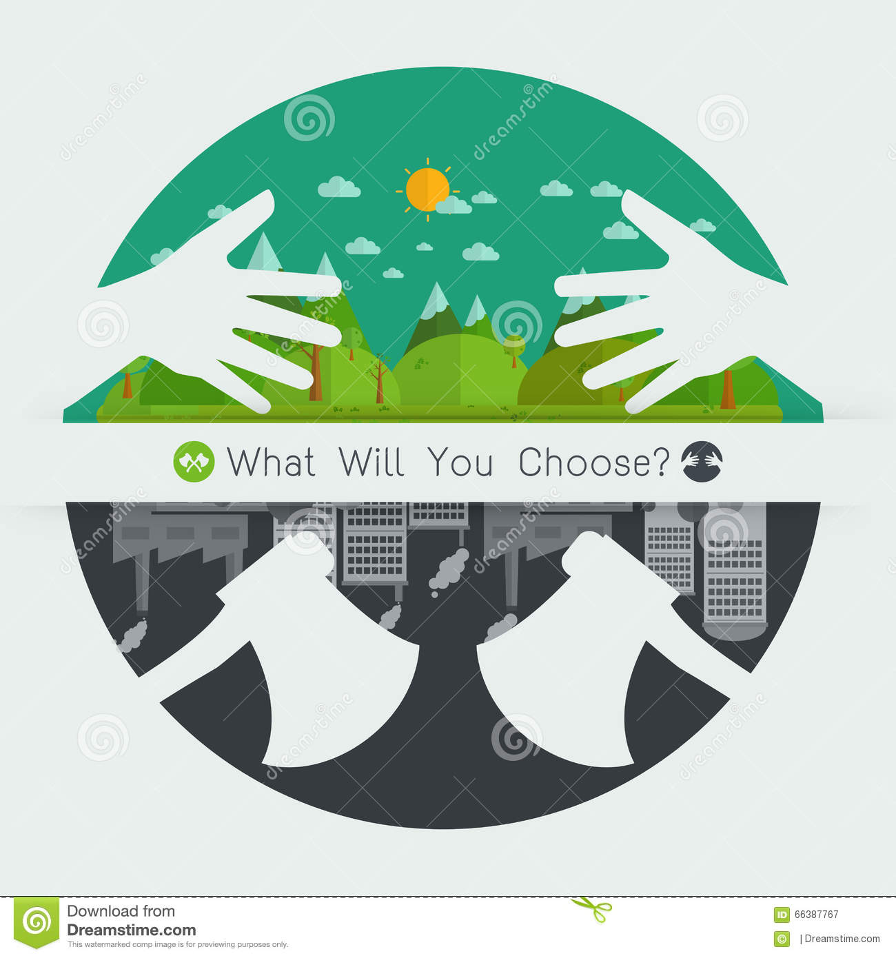 Environmental Concept Earthfriendly Landscapes: What Will You Choose Concept Eco Friendly Or Destroy
