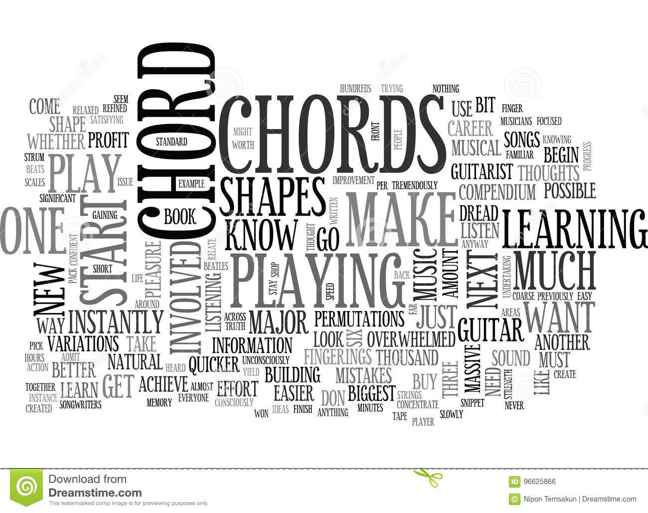 What You Should Know About Beginner Guitar Chords Word Cloud Stock