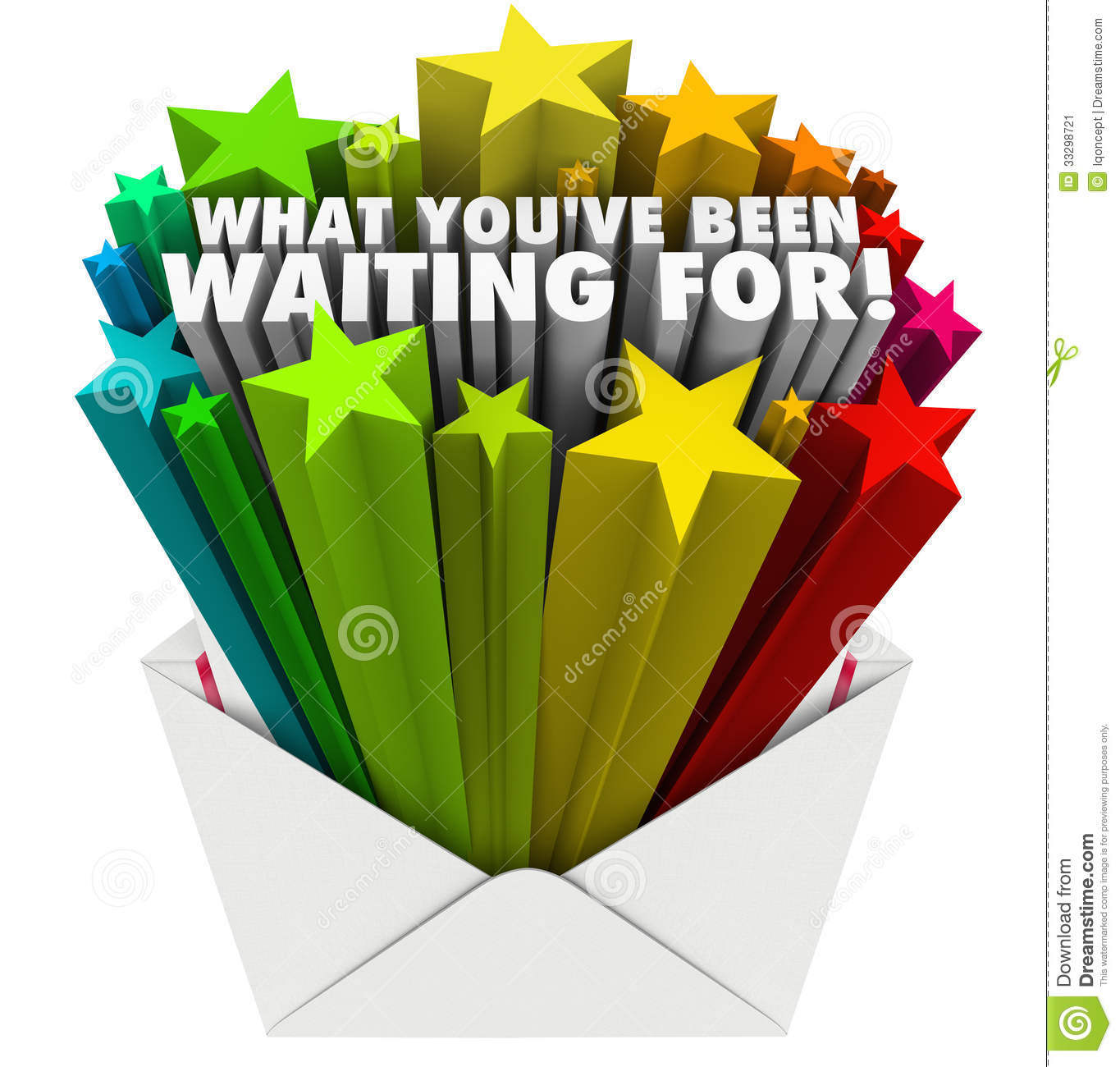 What You've Been Waiting For Envelope Stars Words Stock Image - Image ...