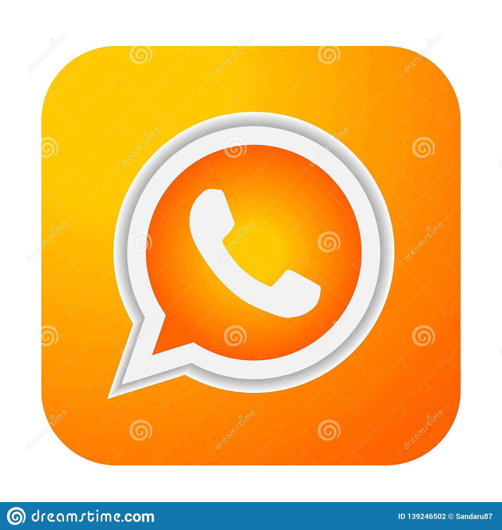 WhatsApp Icon Logo Element Sign Vector In Orange Gold Mobile