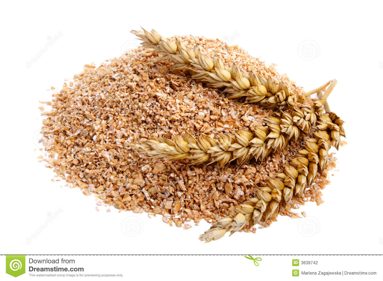 Wheat bran with ears on white background. It is common ingredient of ...