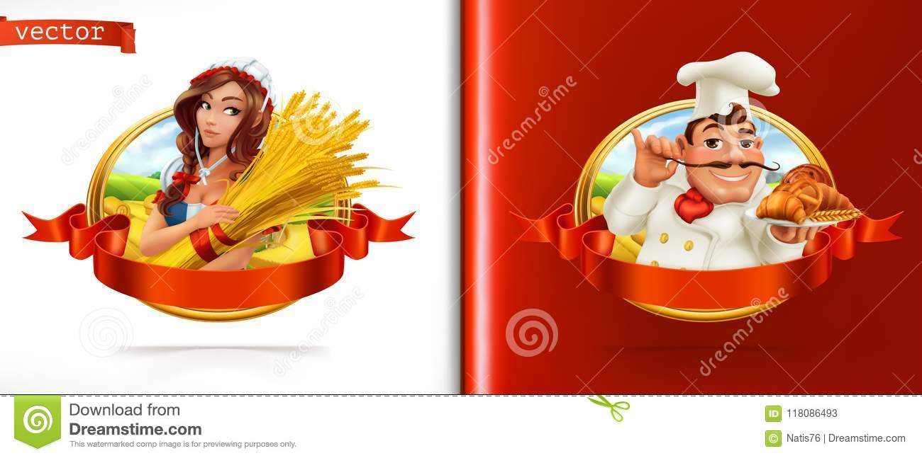 Wheat and Bread. Farmer and Baker. 3d vector