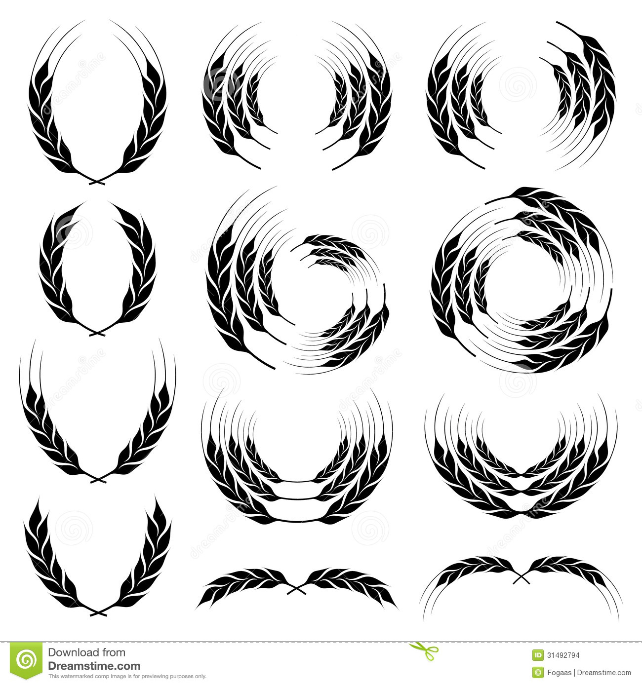 Wheat Wreath Clip Art Wheat ear icon wreath set on