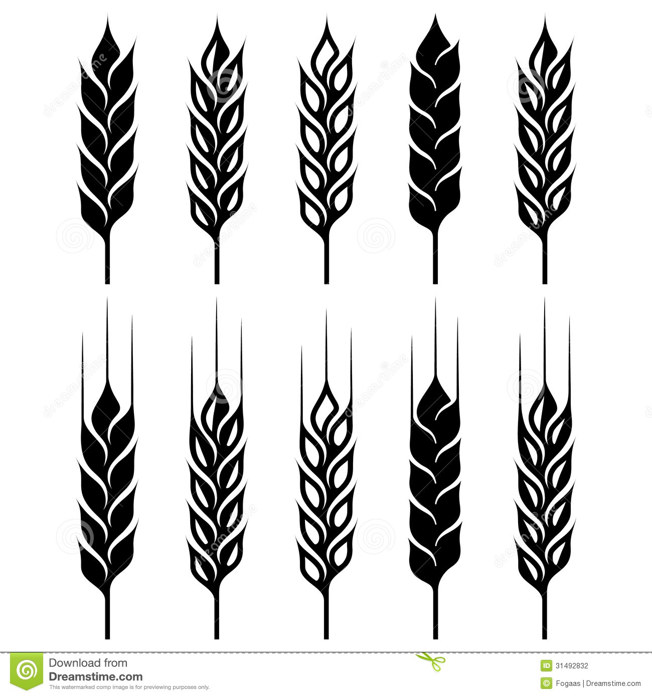 Wheat Ear Sign Set Stock Photography - Image: 31492832
