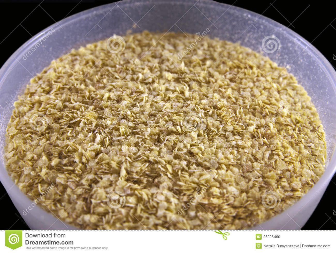 Wheat germ in a plastic bowl