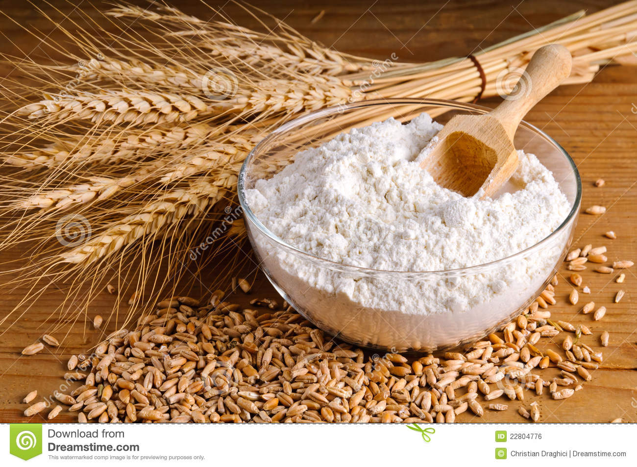 Wheat, grain and flour