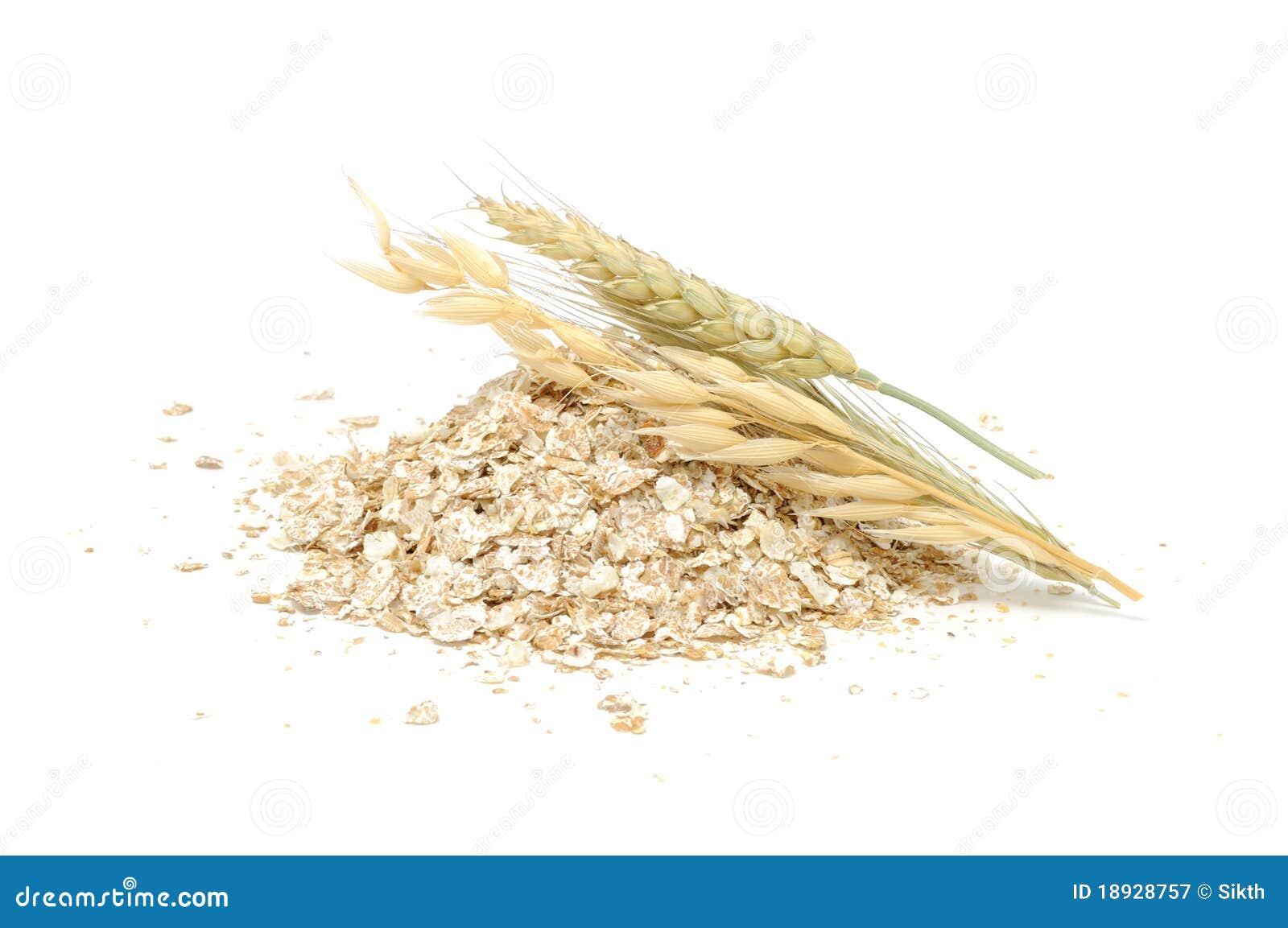 Wheat, Oat, Rye And Barley Flakes with Ears