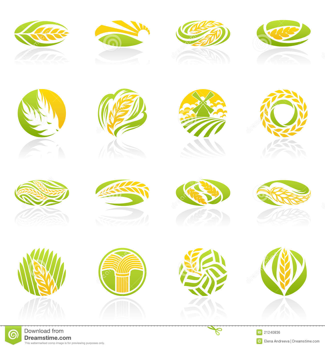 Wheat And Rye. Vector Logo Template Set. Royalty Free ...