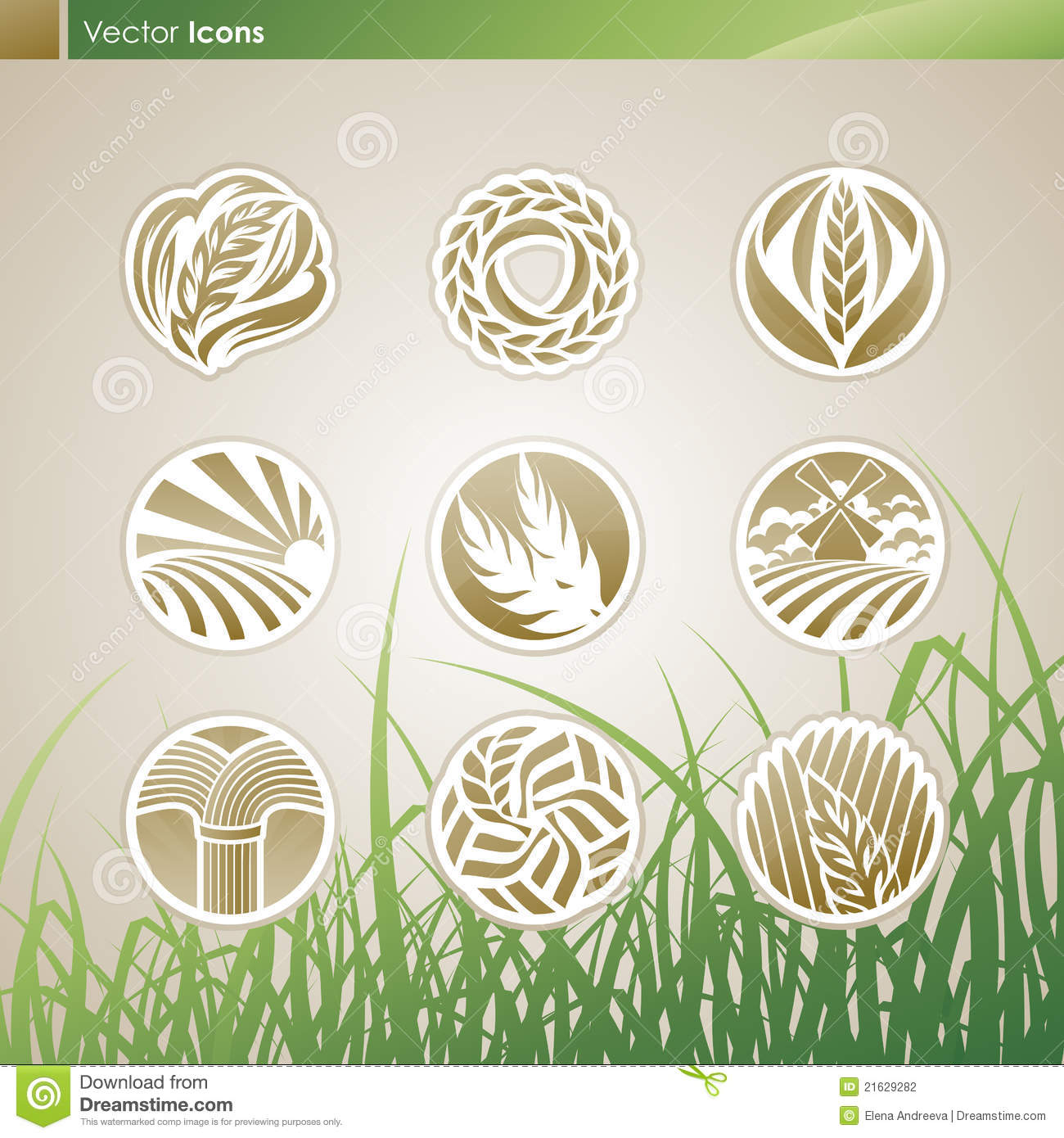 Wheat and rye. Vector logo templates set.