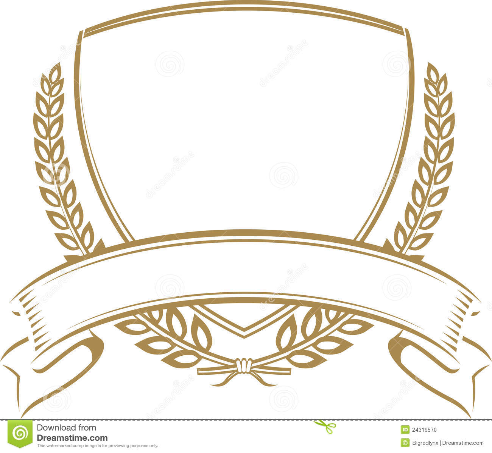 Wheat Shield stock vector. Illustration of ribbon, insignia - 24319570