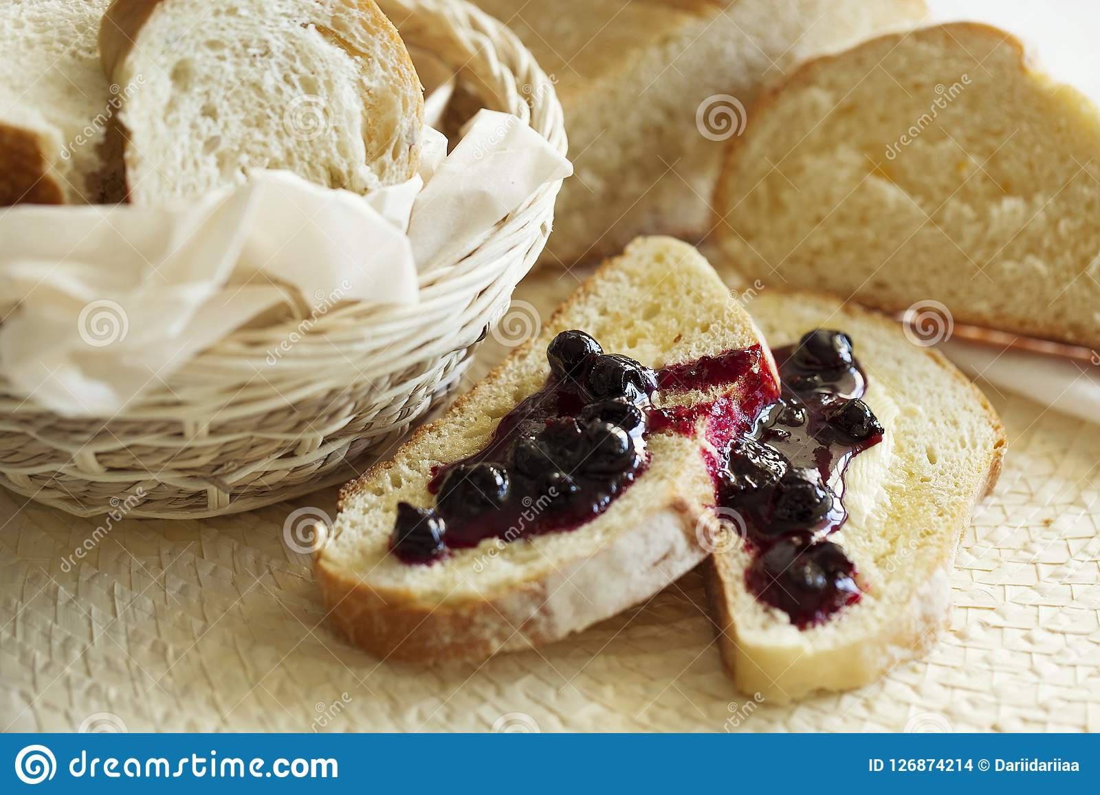 Wheat sweet toast for breakfast with butter and jam. Healthy food. Closeup