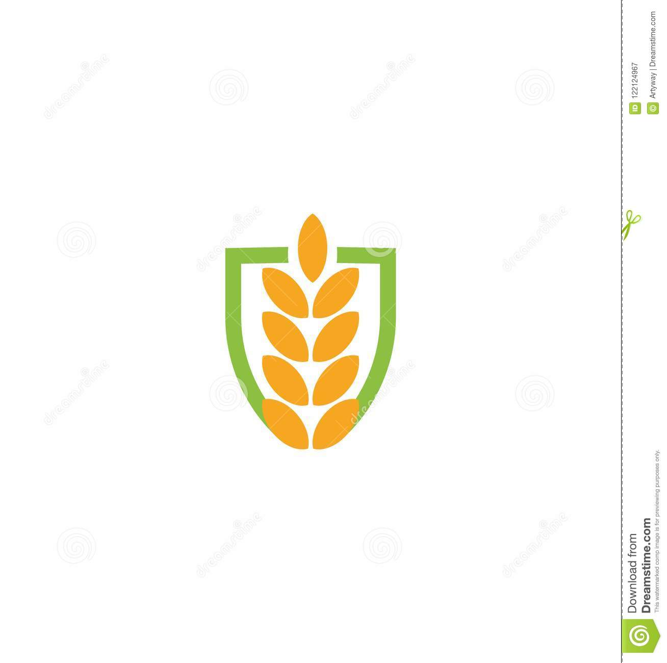 Wheat vector grain icon Isolated abstract orange color wheat ear hearldic logo. Nature element logotype. Agricultural