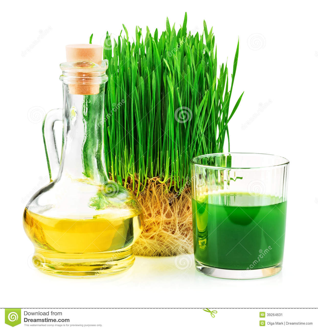 Wheatgrass juice with sprouted wheat and wheat ger