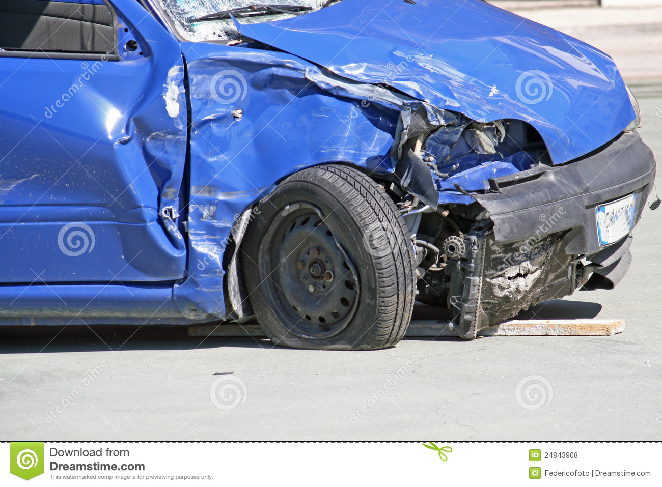 Wheel Of A Car Destroyed In A Traffic Accident Stock Photo - Image ...