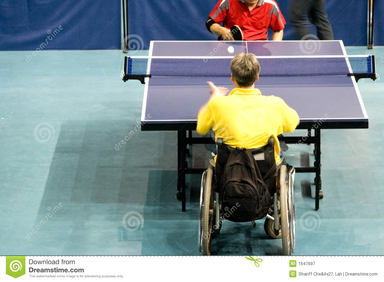 Wheel Chair Table Tennis For Disabled Persons Stock Image