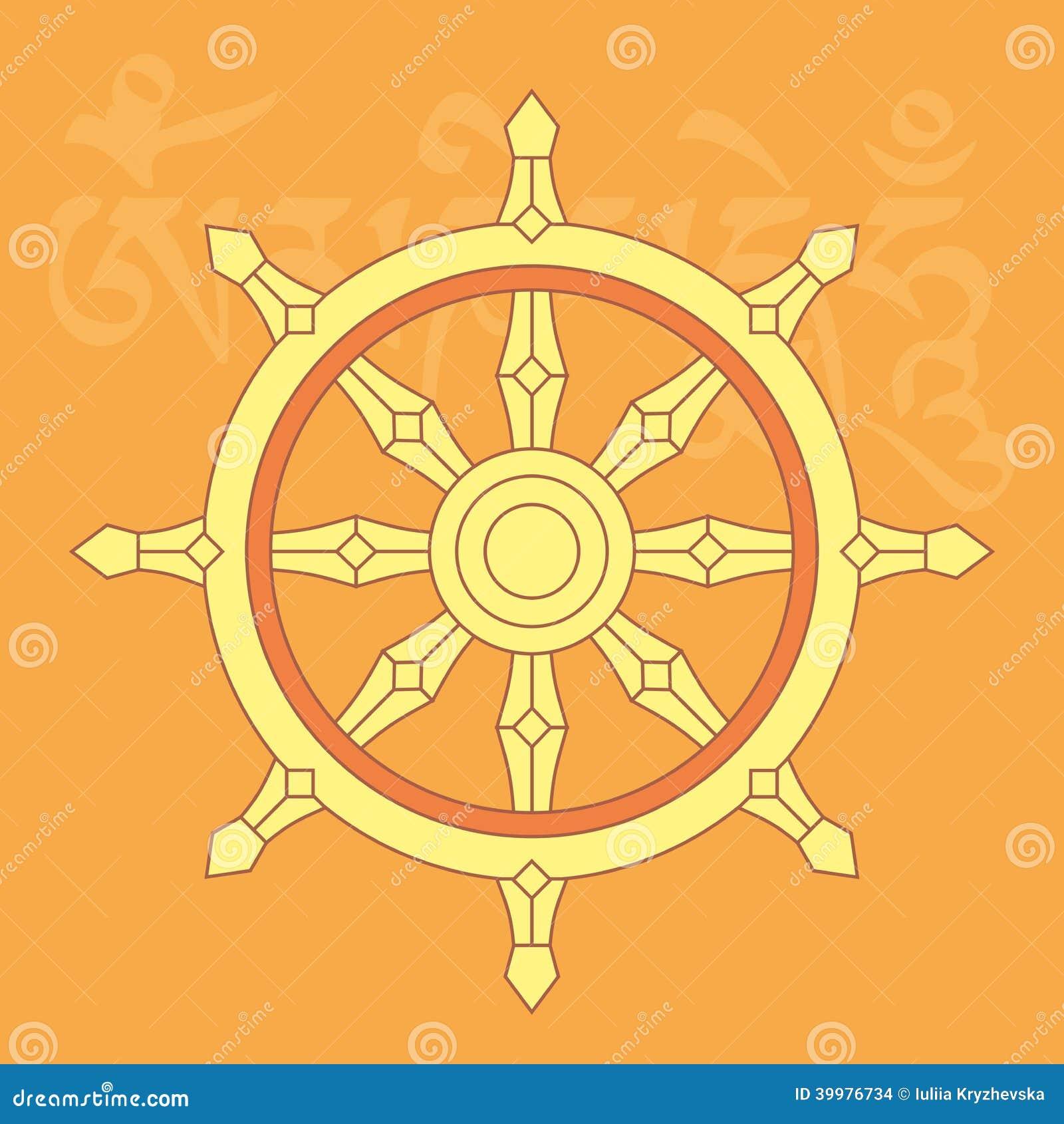Wheel of dharma one of eight buddhist religious symbols stock vector