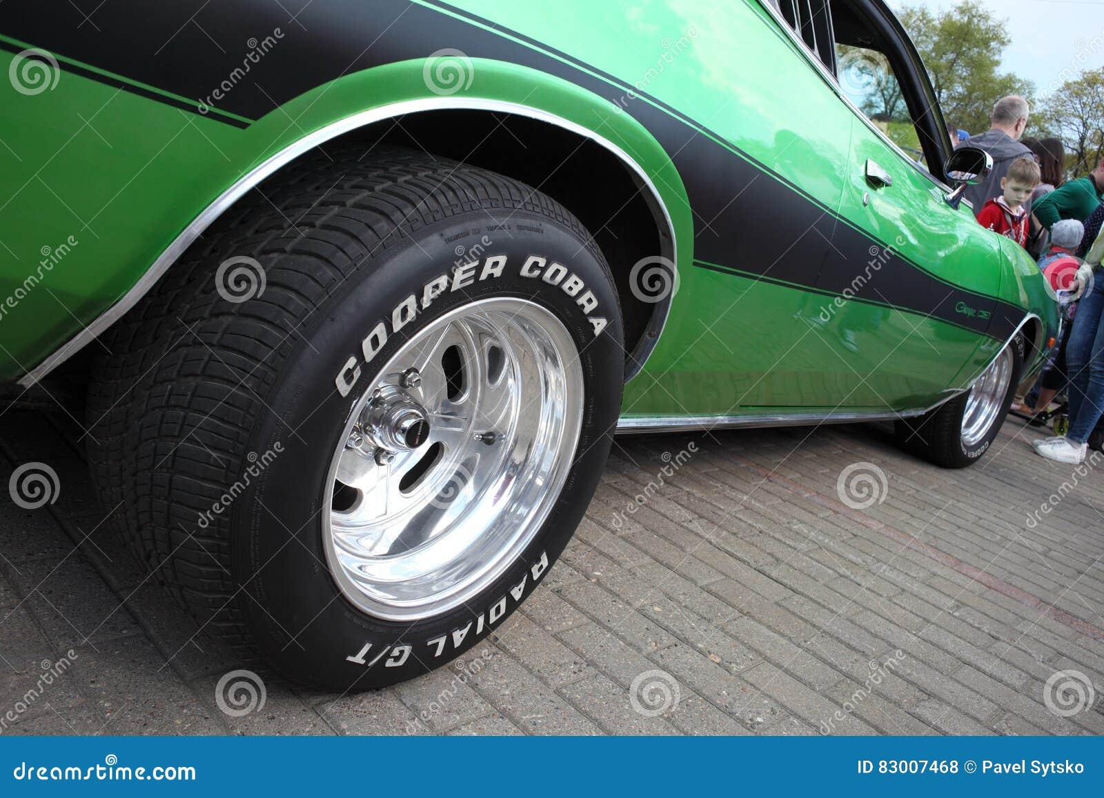 the wheel of dodge car at motor show, belarus, minsk, may, 07.2016