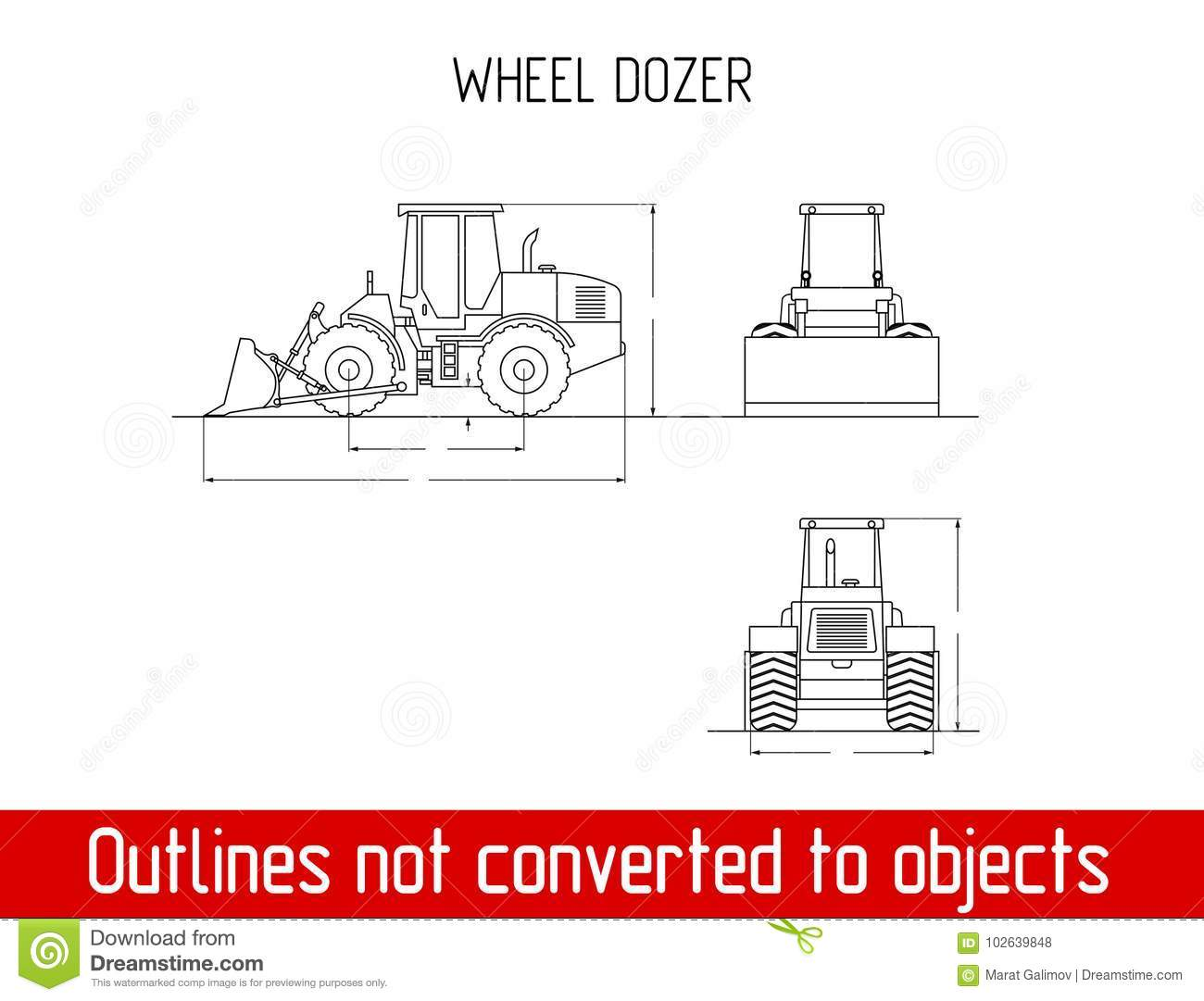typical wheel dozer overall dimensions outline blueprint template