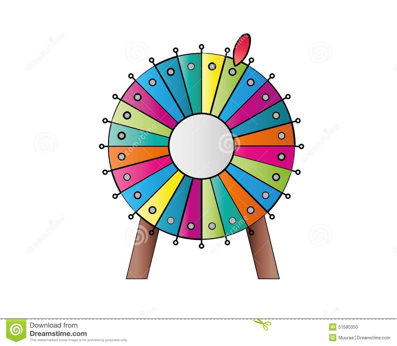 Colorful Wheel Of Luck Or Fortune On Green Background