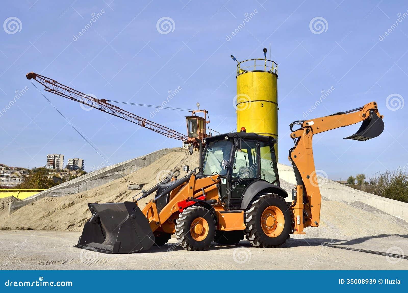 Concrete Plant Loader : Wheel loader excavator royalty free stock images image