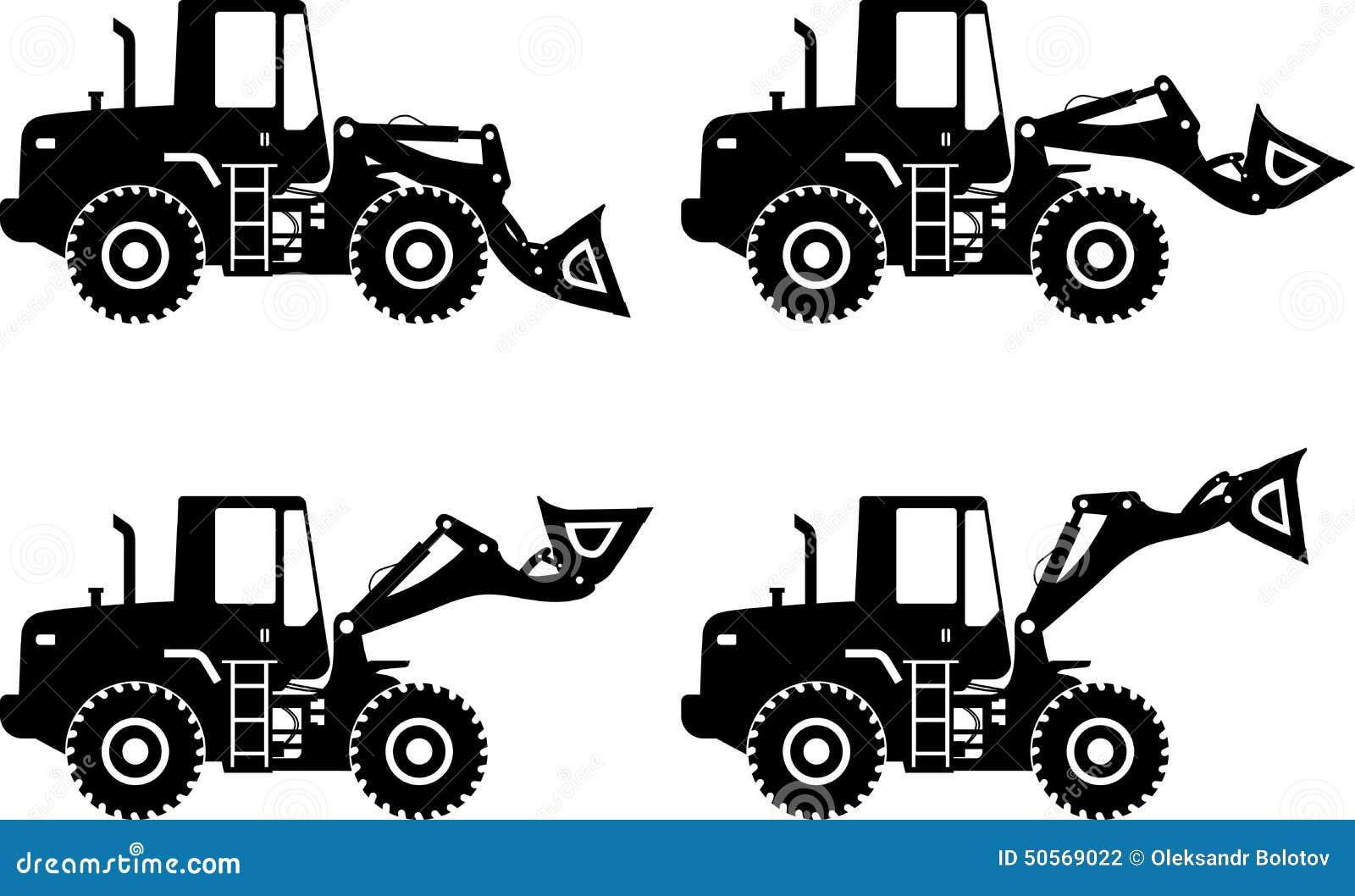 Wheel Loaders Heavy Construction Machine Vector Stock