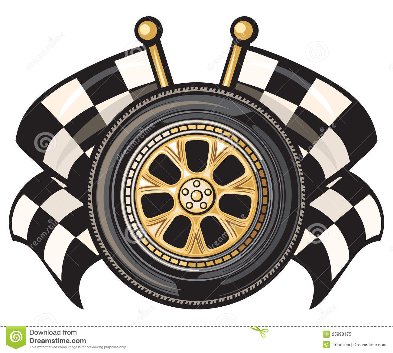 Wheel And Two Crossed Checkered Flags Stock Vector Illustration Of Auto Symbol 25898175