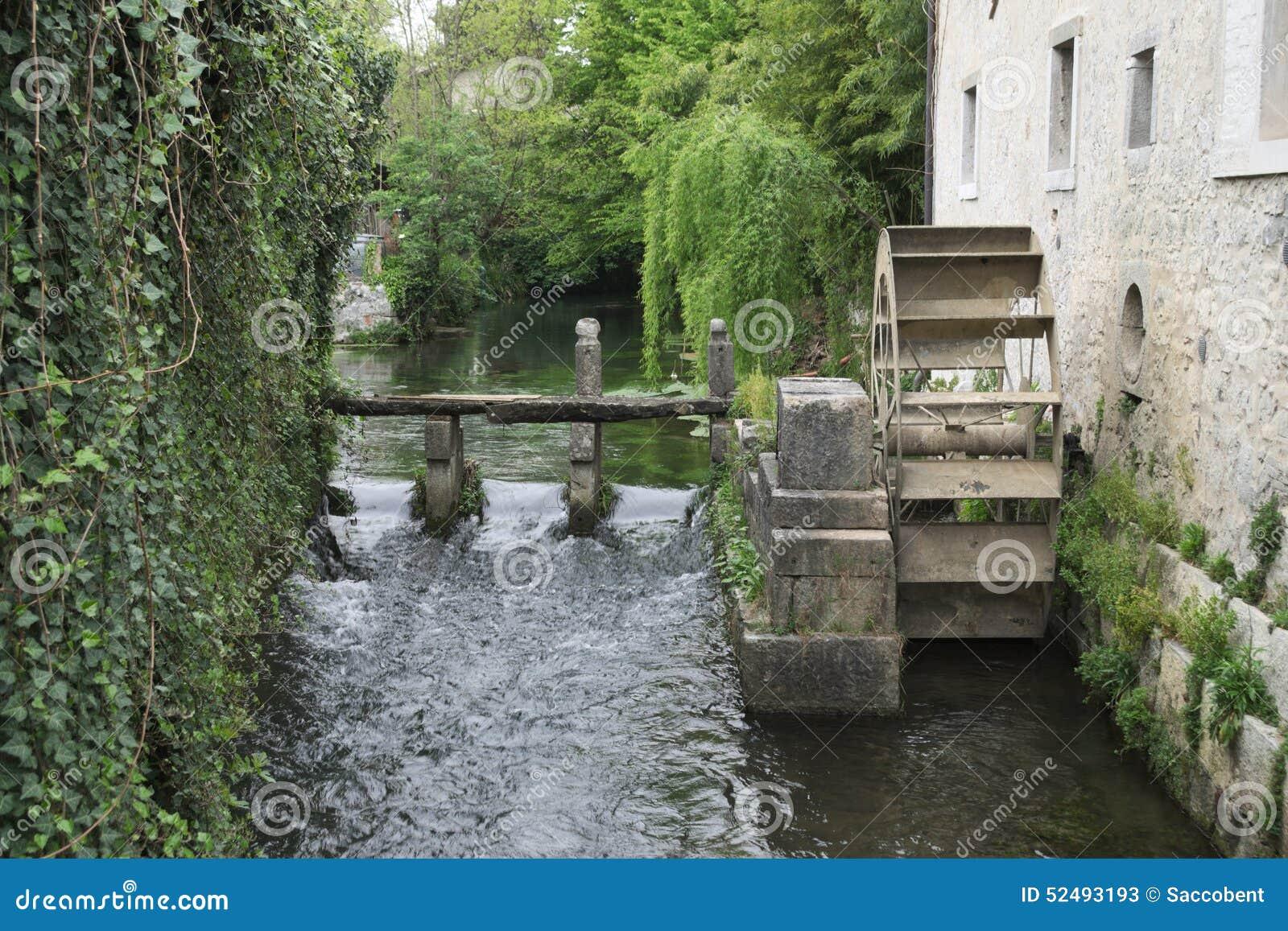 wheel water mill in strassoldo s castle friuli italy stock image