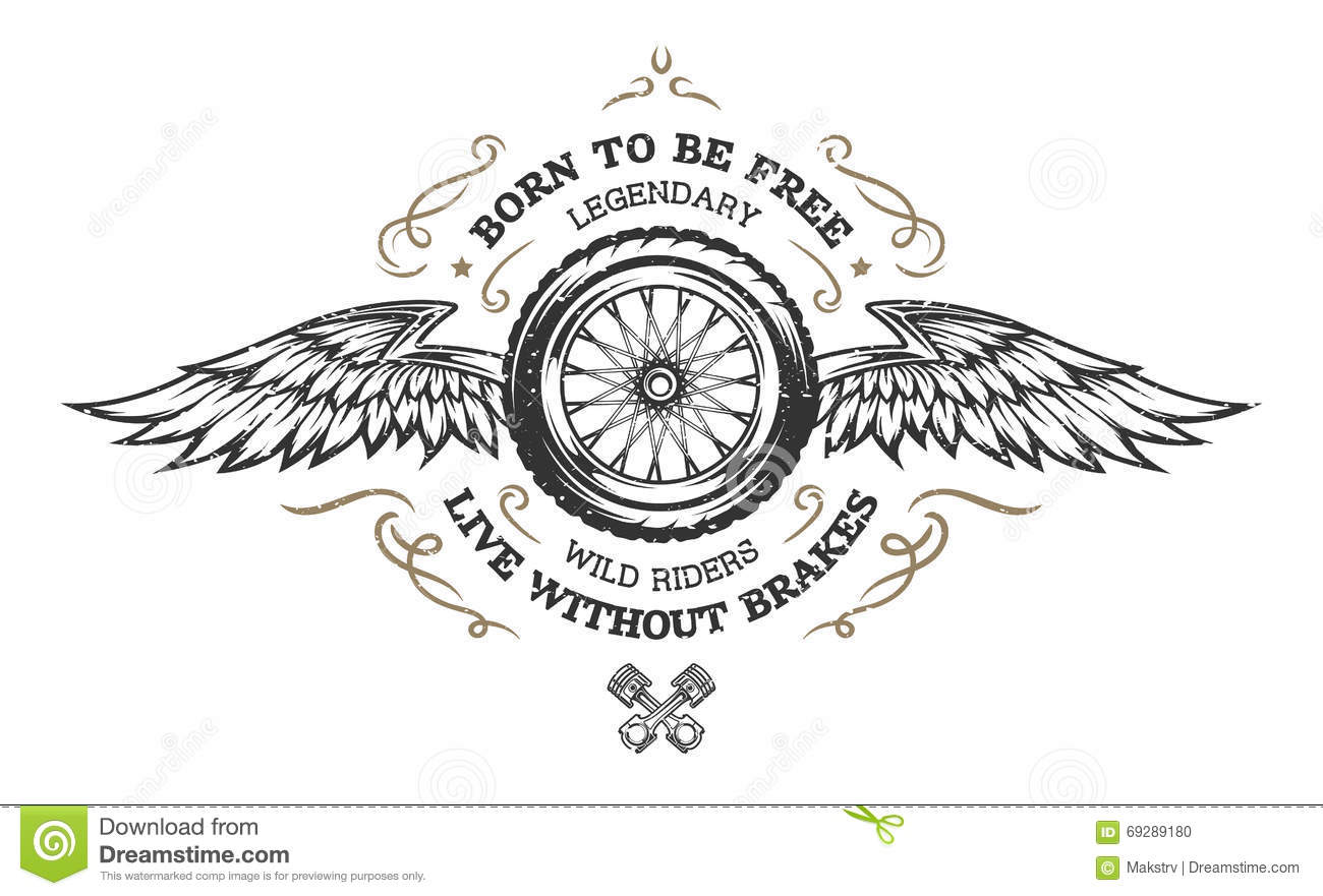 wheel and wings in vintage style stock vector image