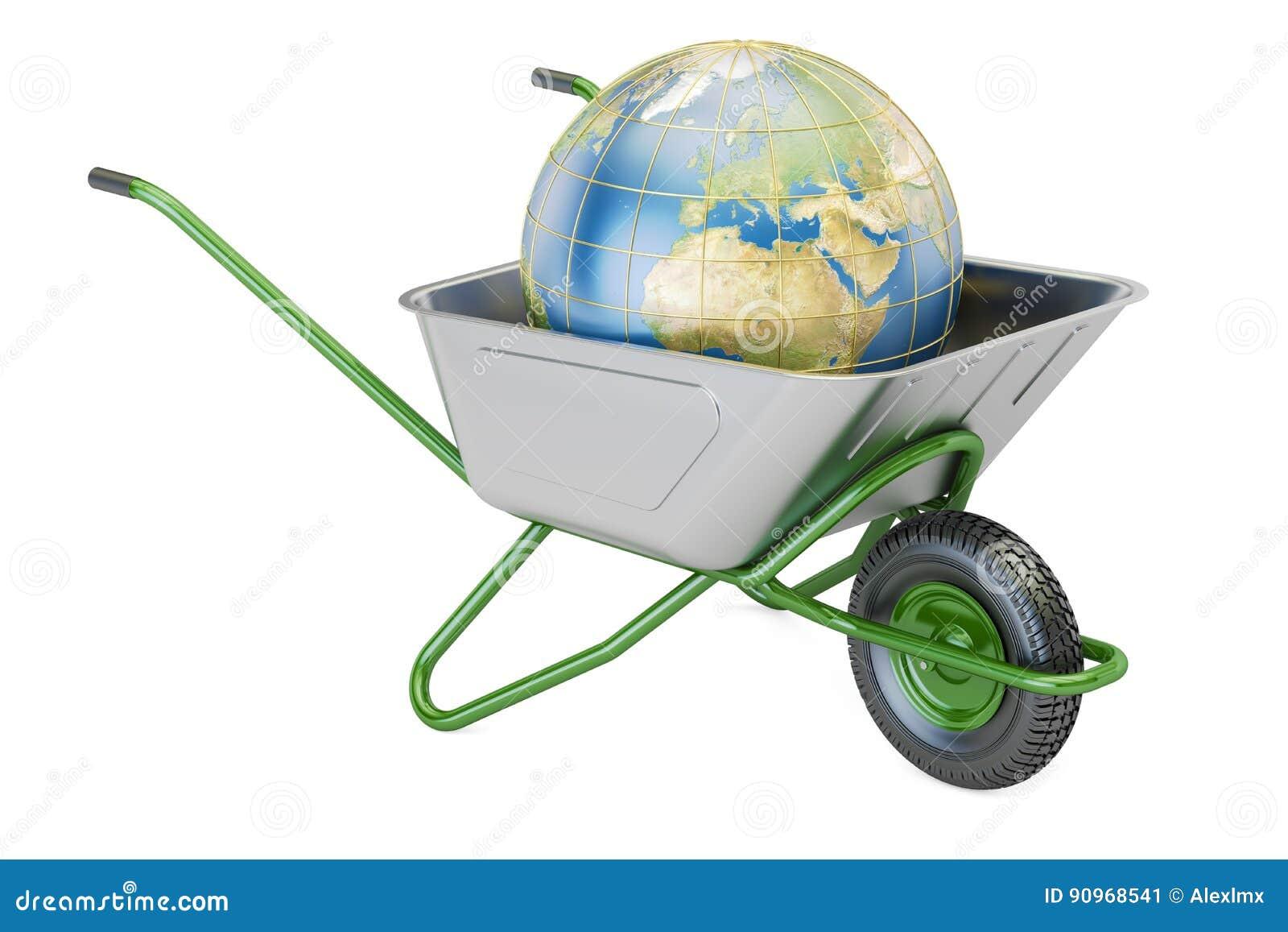 Wheelbarrow κήπων με το χώμα ή το λίπασμα, τρισδιάστατη απόδοση