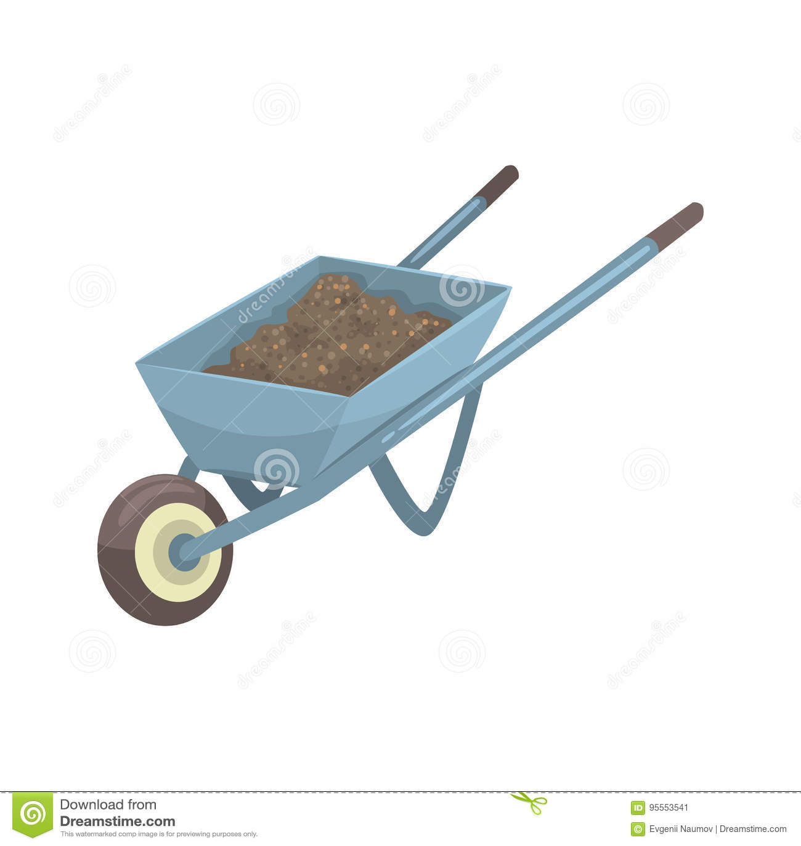 Wheelbarrow σύνολο της διανυσματικής απεικόνισης κινούμενων σχεδίων χώματος ή λιπάσματος
