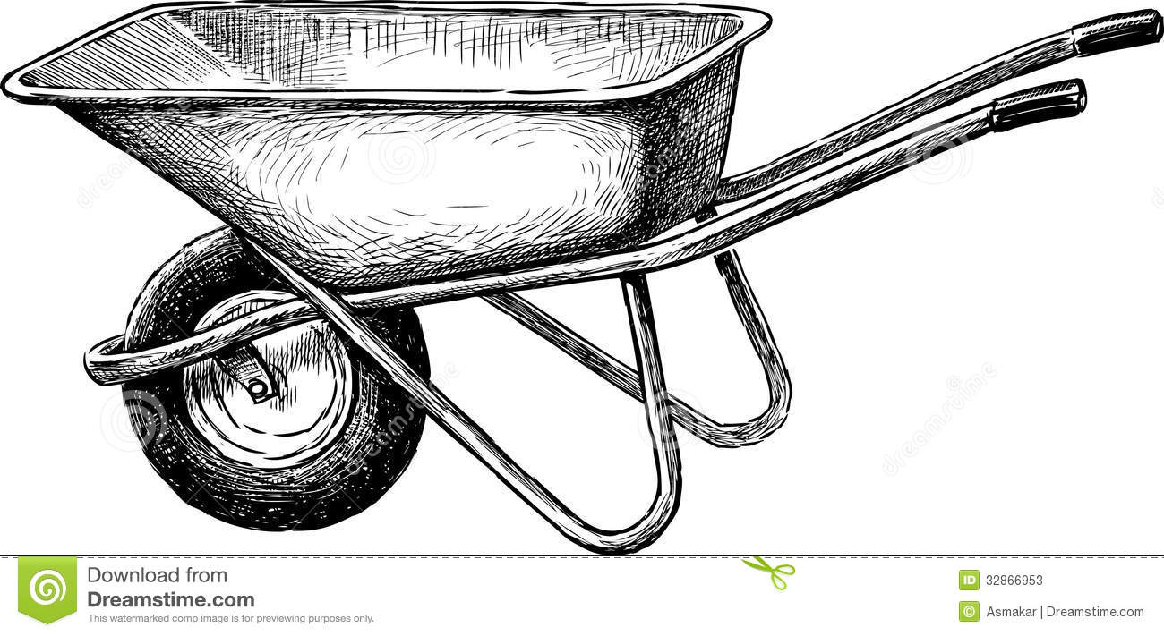 Wheelbarrow stock image image of working outdoors for Gardening tools drawing