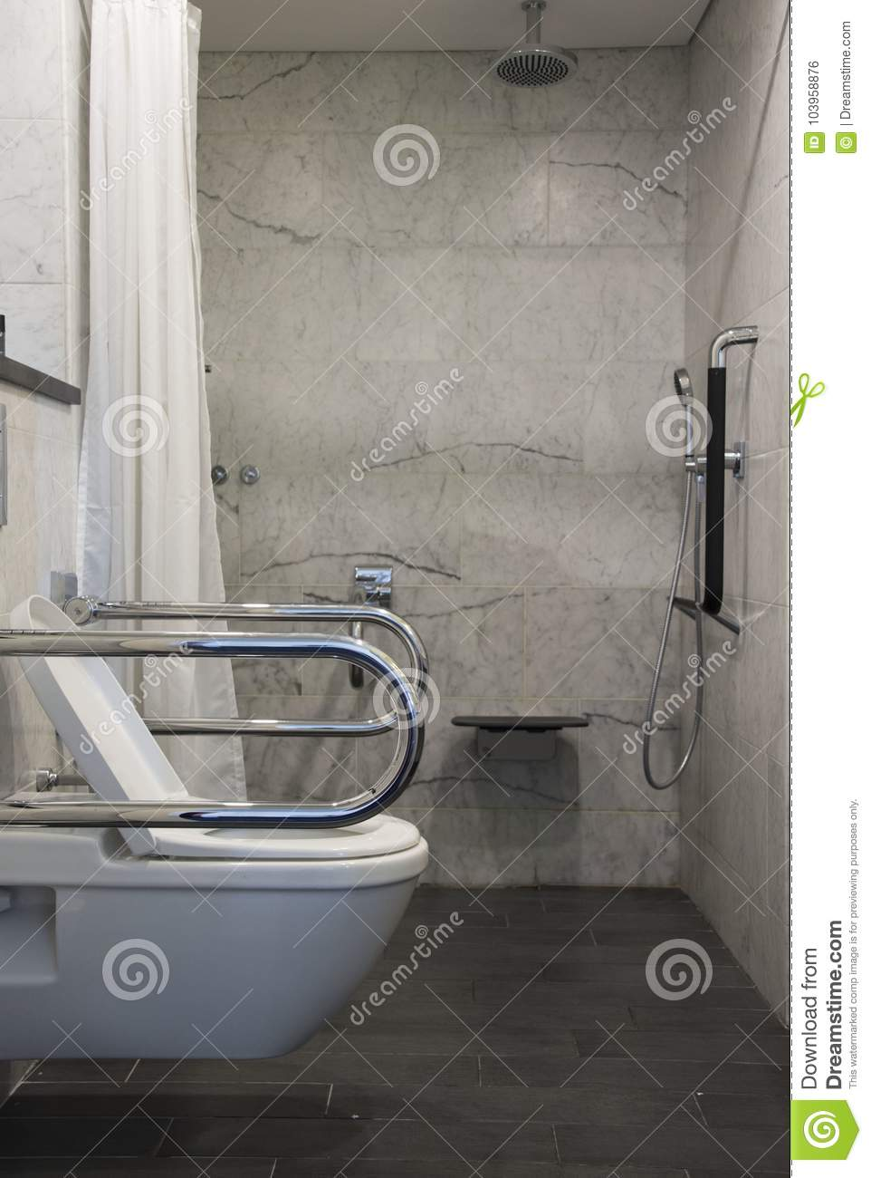 Wheelchair Accessible Bathroom And Toilet Stock Photo - Image of ...