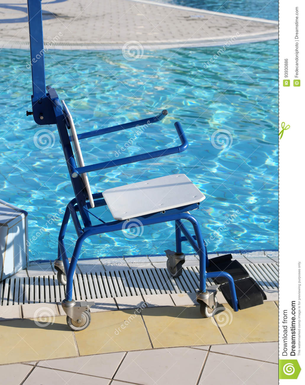 Wheelchair For Disabled People At The Swimming Pool Stock Photo ...