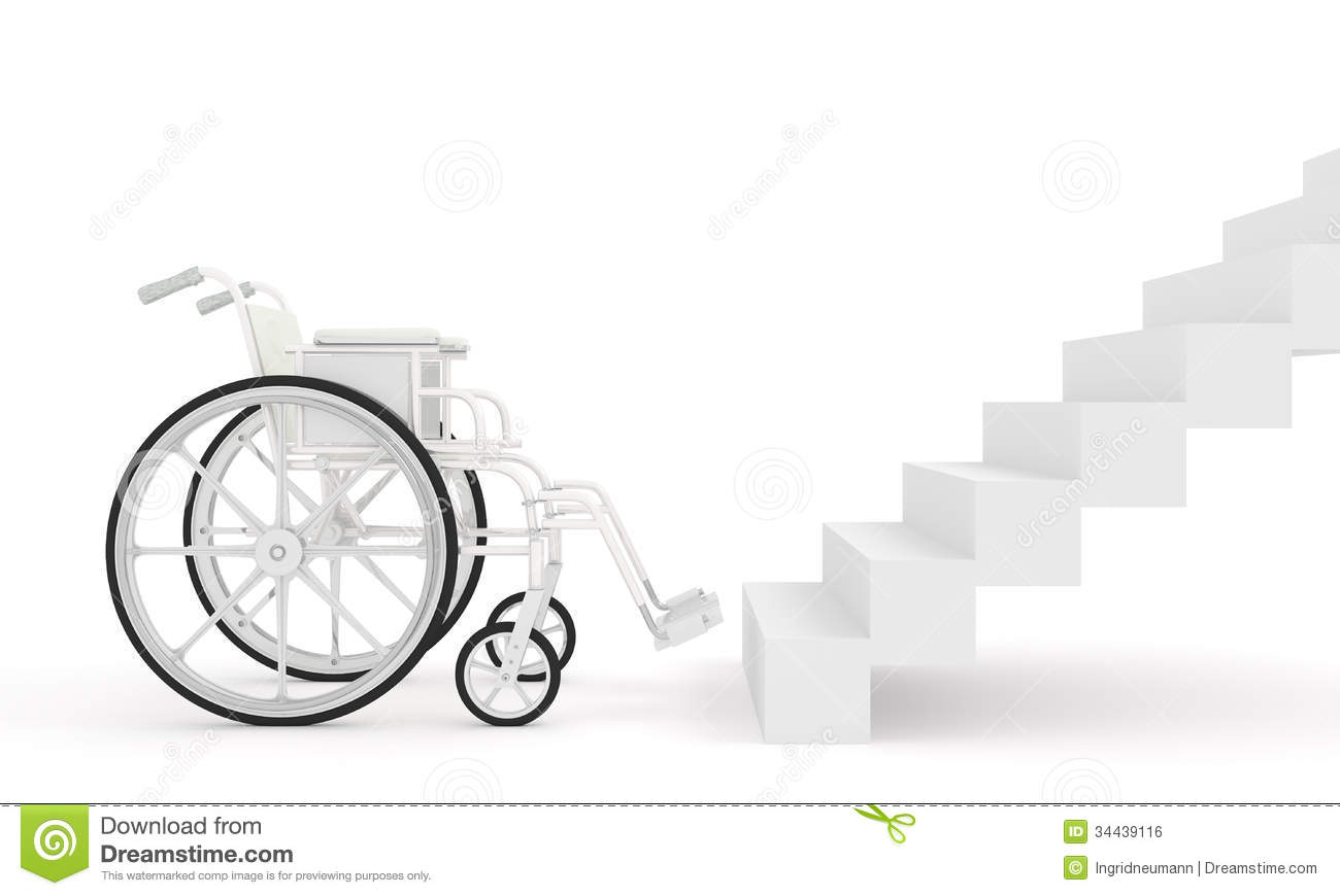 Wheelchair In Front Of Stairs On White Background Stock