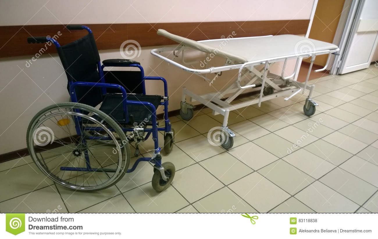 wheelchair and medical bed stock photo - image: 83118838