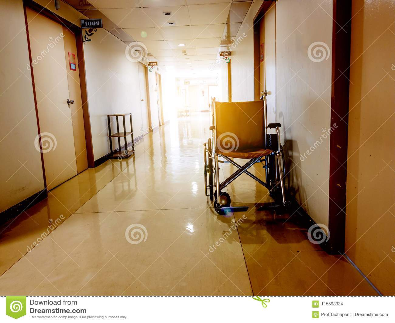 Wheelchair parking in the front of room in hospital. Wheelchair accessible for elderly or sick people