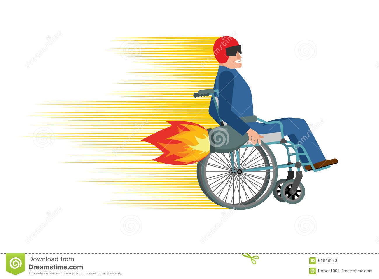 wheelchair with turbo engine  disabled fast rides  man in chair stock vector