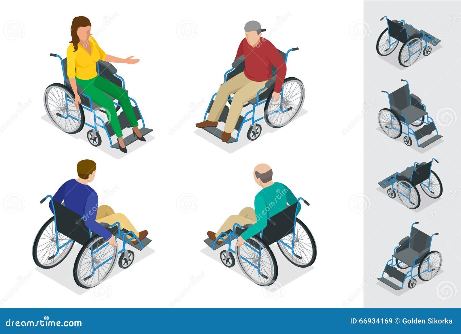 Wheelchair Uomo in sedia a rotelle Illustrazione isometrica piana di vettore 3d Giorno internazionale delle persone con