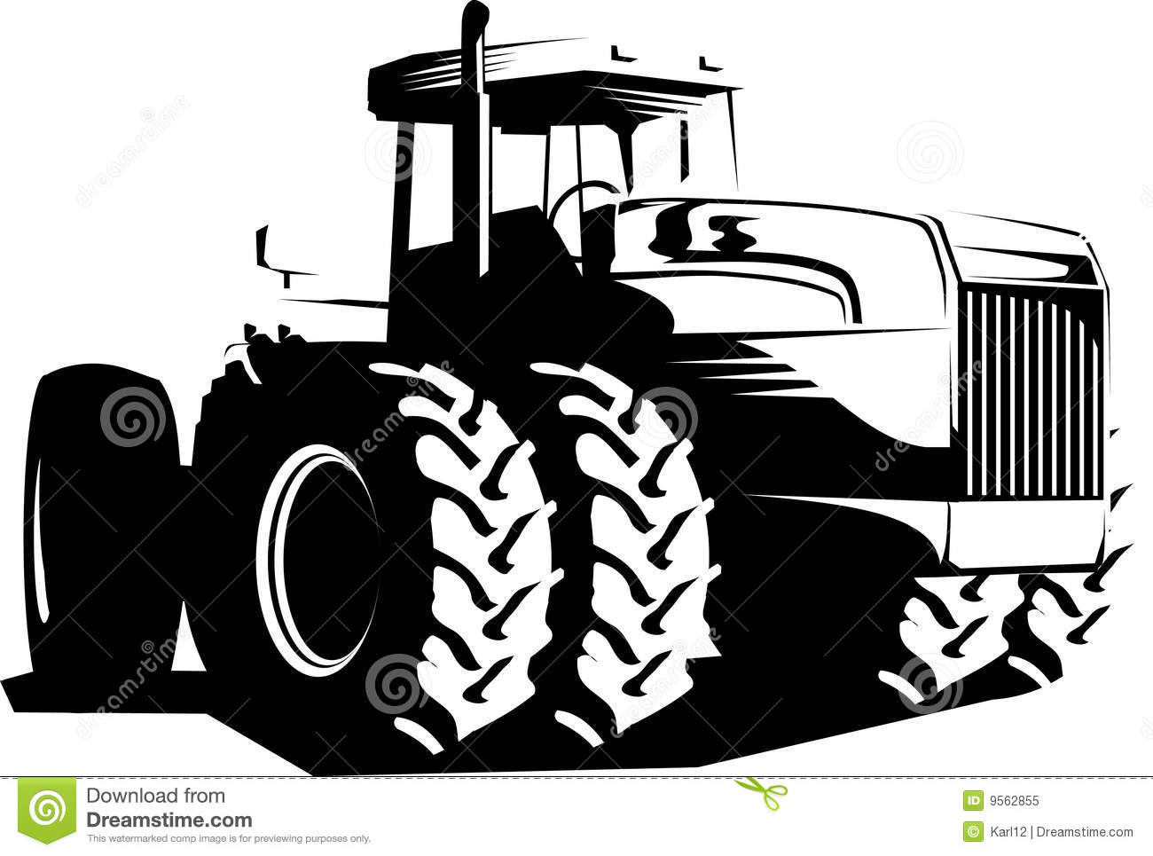 Wheeled Tractor Black And White Stock Vector - Image: 9562855