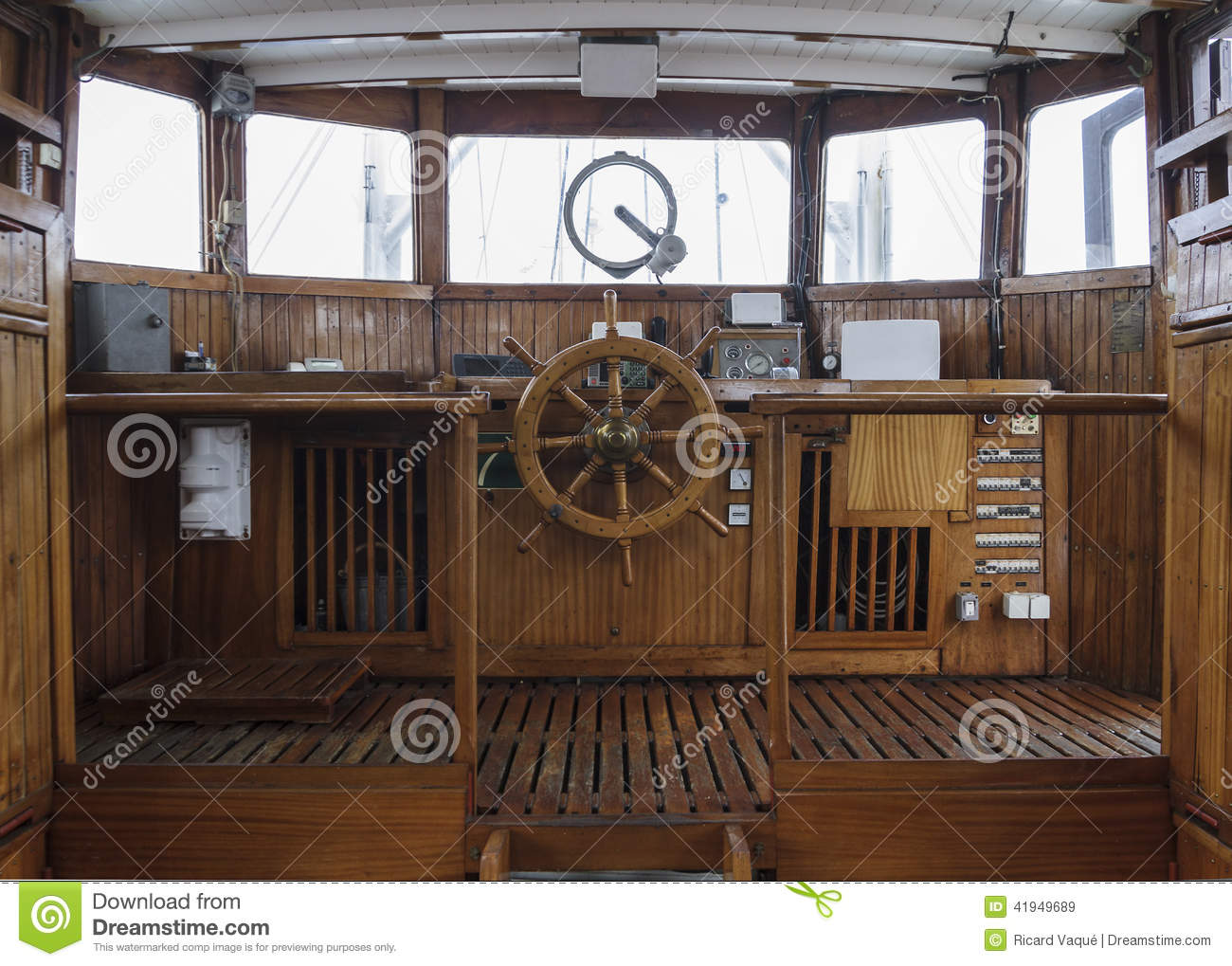 Wheelhouse Of And Historic Ship Stock Image - Image: 41949689