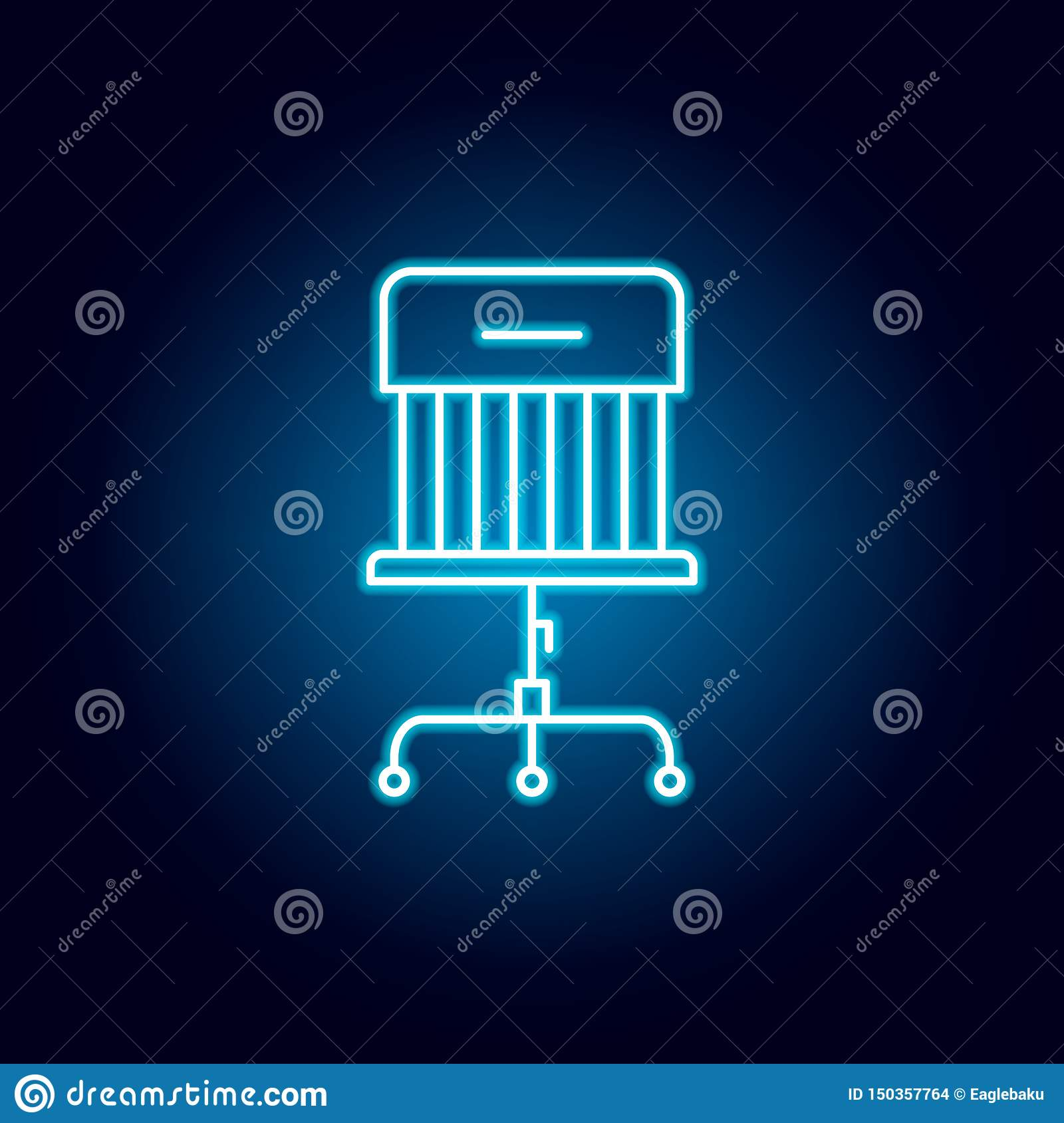 wheels, chair, office, furniture outline icon in neon style. signs and symbols can be used for web, logo, mobile app, UI, UX