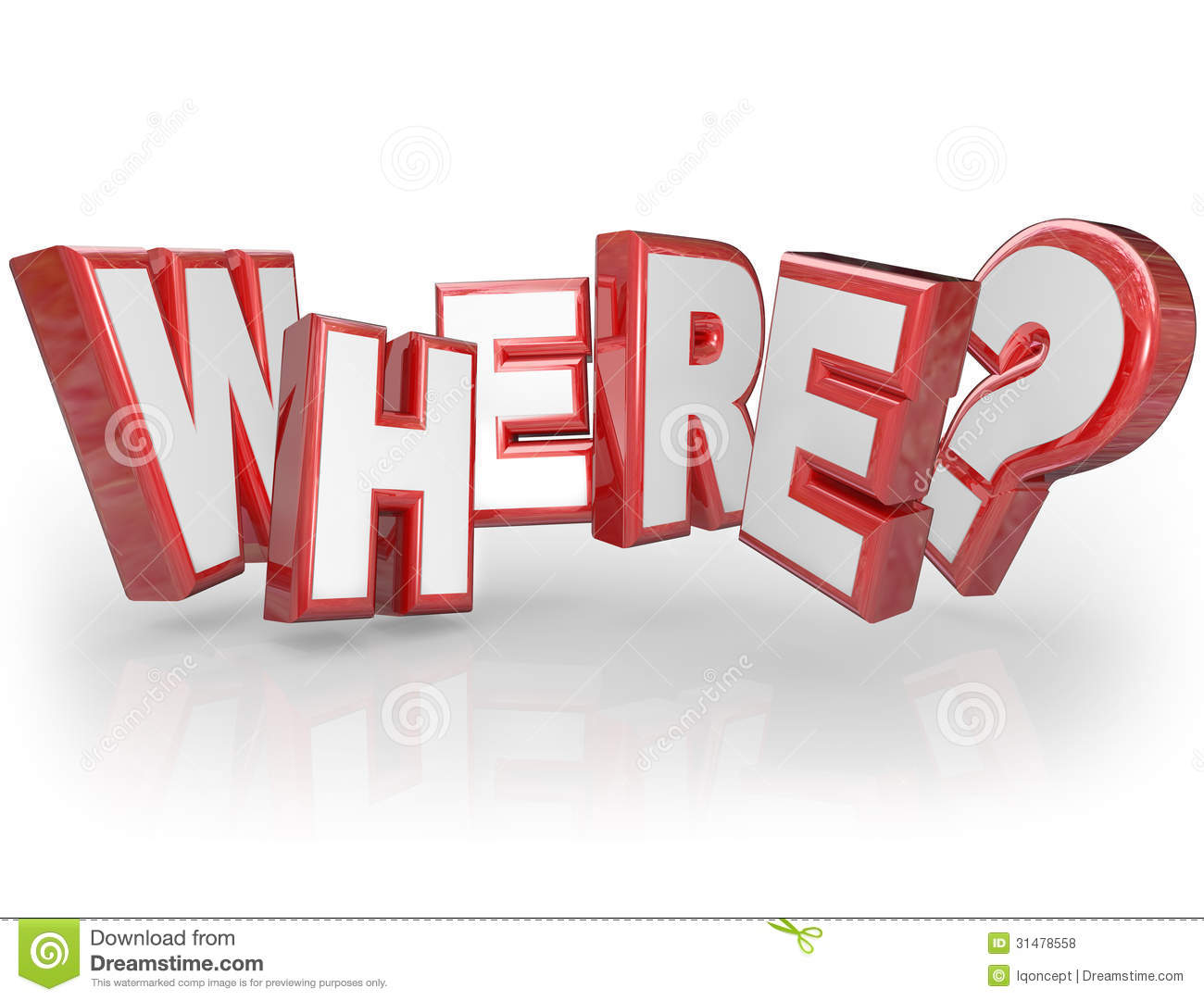 Where 3D Word Red Letters Mystery Location Question Mark Royalty ...