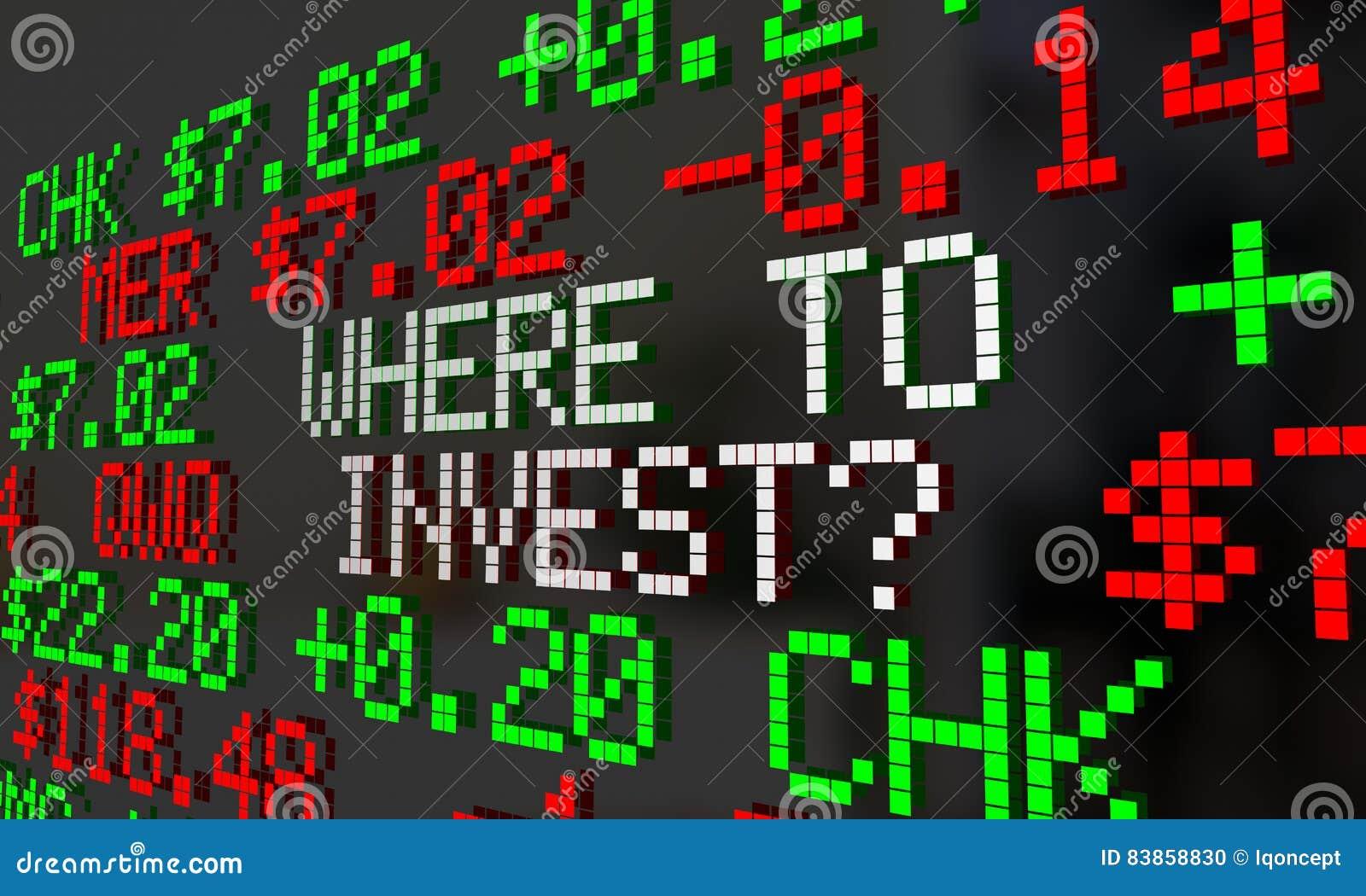 Where To Invest Stock Market Ticker Symbols Stock Illustration