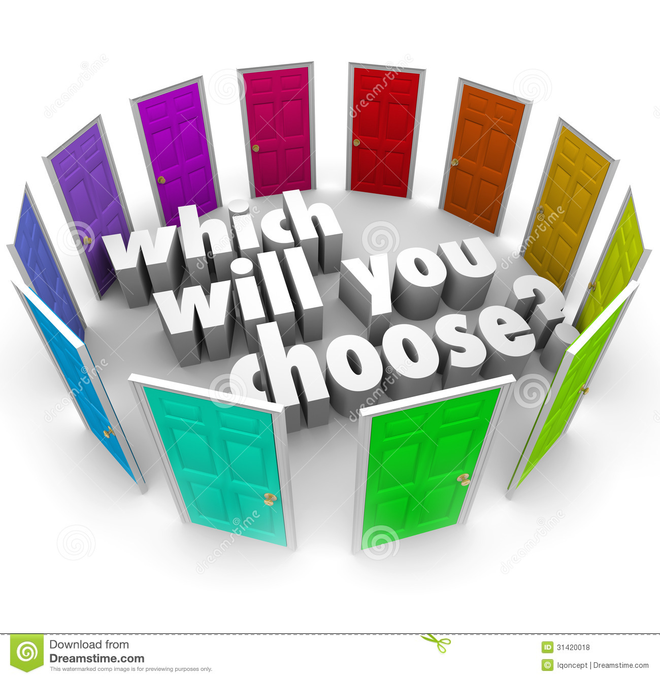 Which Will You Choose Many Doors Paths Opportunities Stock