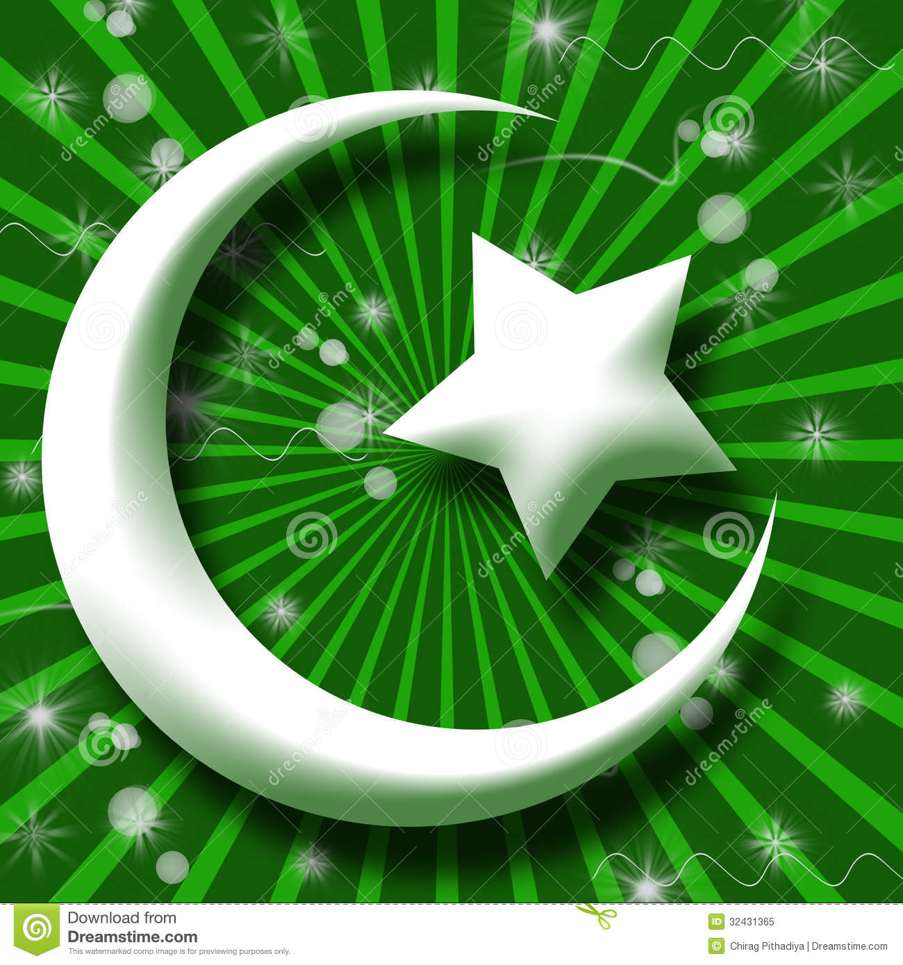 Whie Islam Symbol In Green Burst And Sparkle Royalty Free