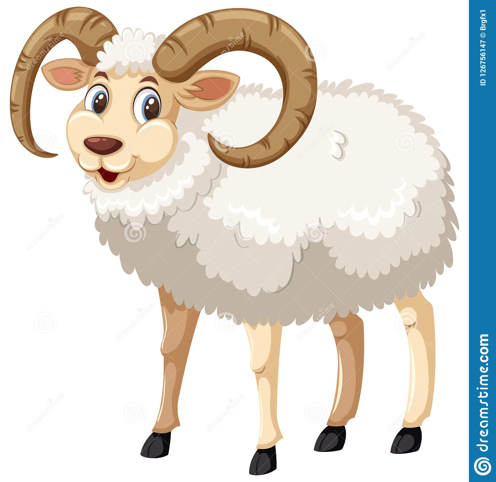 A Whie Male Horn Sheep On White Background Stock Vector ...
