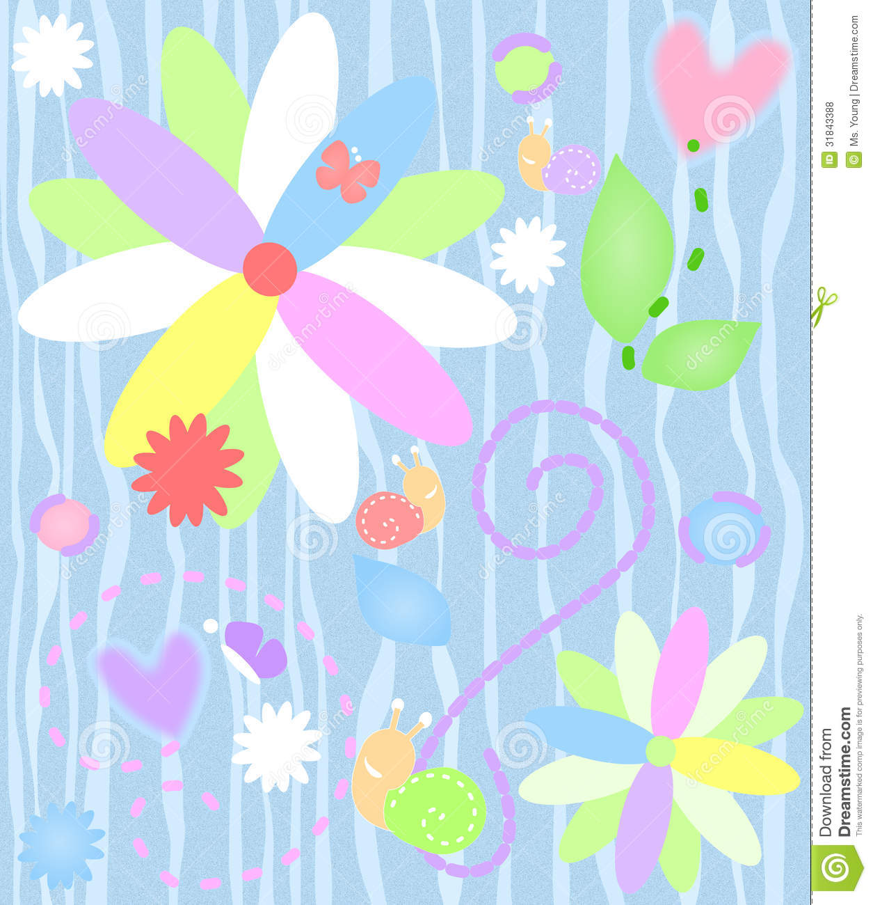 Whimsical Background R...Clipart Flowers And Butterflies Border